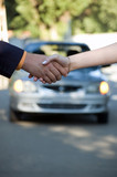 The buyer and the seller shake hands. Car sale poster