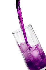 violet refreshener drink in a glass with ice blocks