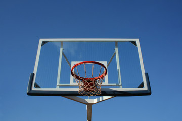 Basketball glass table, close and isolated on sky.