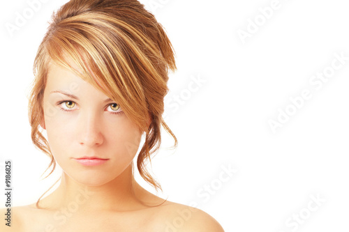 teenager with sullen expression with space for text
