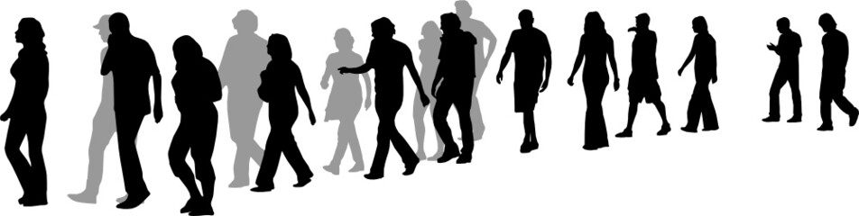 people walking in line, vector  illustration