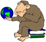 Ape Pondering A Globe poster