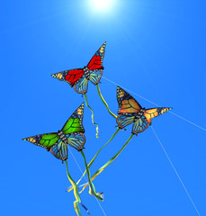 Three colorful kites at sunny sky