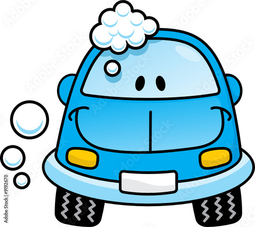 A happy blue cartoon car washing with soap bubbles