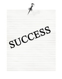 memo with success on a white background poster