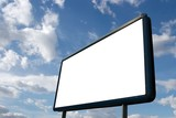 Blank advertisement board with cloudy blue sky poster