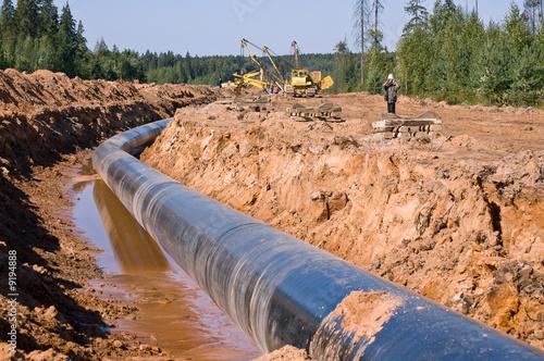 Leinwanddruck Bild construction of the pipe line