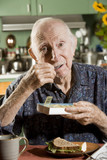 Portrait of Elder Man Discussing Medications poster