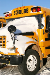 A school bus covered with fresh snow.