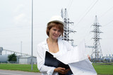 Woman engineer or architect with white safety hat poster