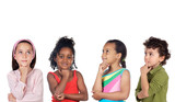 multiethnic group of children thinking a over white background - Fine Art prints