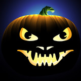 Illustration of a scary face carved into a pumpkin poster