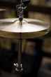 A set of cymbals on a stand, part of a drumk kit.