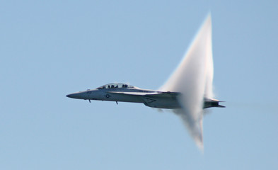 F-18 flirts with sound barrier