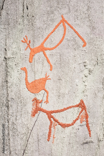 Poster ancient rock carvings (petroglyphs) in Alta, Norway