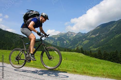 Mountainbiker mit Bergkulisse - 9203246