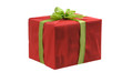 Red gift box with green bow and ribbon, isolated