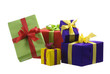 Five gift boxes with bows and ribbons, isolated