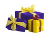 Three gift boxes with bows and ribbons, isolated