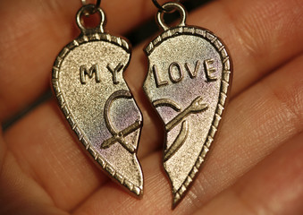 """Two half of heart with an inscription """"My love"""""""