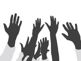 raised hands on isolated background