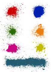 Set of seven vector colored stains