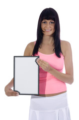 Atractive woman holding a blank sign on a white background