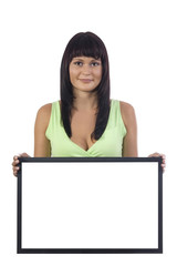 Atractive woman holding a blank sign (LCD) on a white background