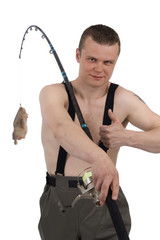 Fisherman with chicken on fishhook against a white background