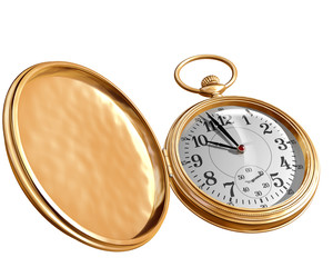 Isolated illustration of an open gold pocket watch