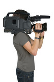 Cameraman, isolated on white background poster