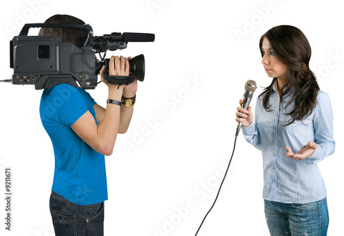 TV reporter , isolated on white background