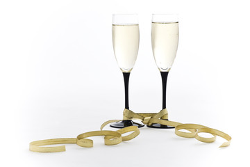 Two Champagne glasses with Gold Bow Tie