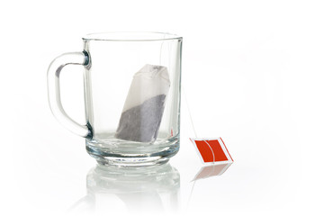 empty glassy tea cup with tea-bag