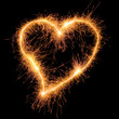 Sparkler heat heart. Design element for love card