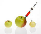GMO - genetic modified food concept. Big apple with syringe. poster
