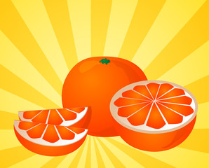 Orange fruit, whole, halved, and sliced into sections