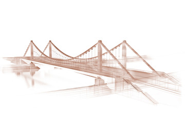 3d wireframe render of a bridge, sepia