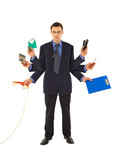 Businessman or office employee doing too much work - isolated poster