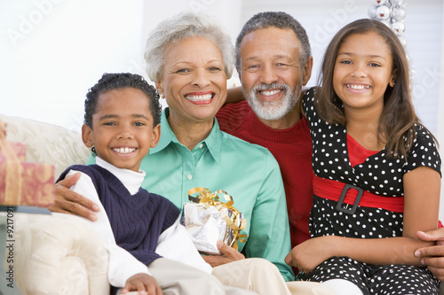 Children With Grandparents At Christmas