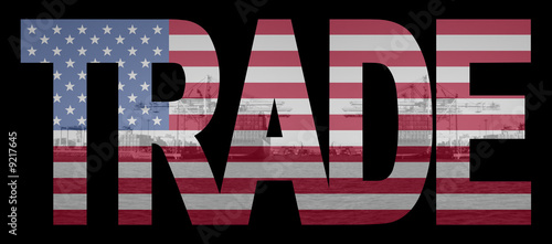 Trade text with American flag over container ships at port