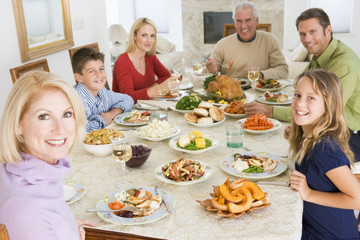 Family All Together At Christmas Dinner