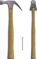 Hammer and nail vector