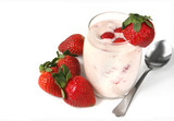 Glass of strawberry yoghurt