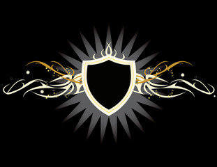 White and yellow shield on a black background