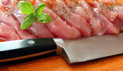 fresh meat with knife