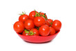 Wet whole tomatos arranged isolated on white
