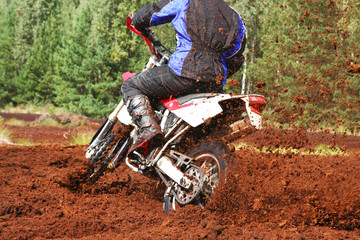 Off-road motorbike extreme cornering.