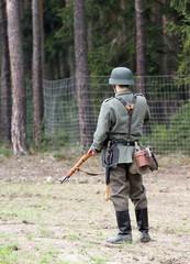 German soldier in battlefield WWII