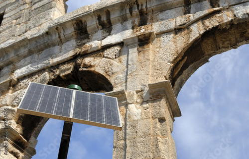 Amphitheater in Pula, Croatia with solar cell